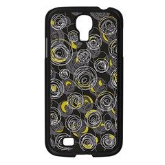 Gray and yellow abstract art Samsung Galaxy S4 I9500/ I9505 Case (Black)