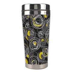 Gray and yellow abstract art Stainless Steel Travel Tumblers