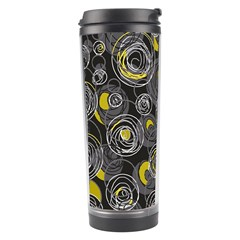 Gray and yellow abstract art Travel Tumbler