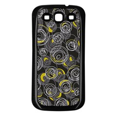 Gray and yellow abstract art Samsung Galaxy S3 Back Case (Black)