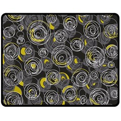 Gray and yellow abstract art Double Sided Fleece Blanket (Medium)