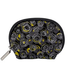 Gray and yellow abstract art Accessory Pouches (Small)
