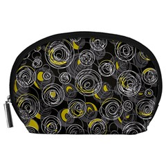 Gray and yellow abstract art Accessory Pouches (Large)