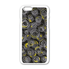 Gray and yellow abstract art Apple iPhone 6/6S White Enamel Case