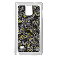 Gray and yellow abstract art Samsung Galaxy Note 4 Case (White)