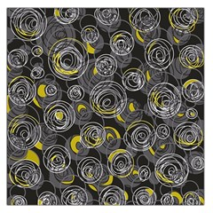Gray and yellow abstract art Large Satin Scarf (Square)
