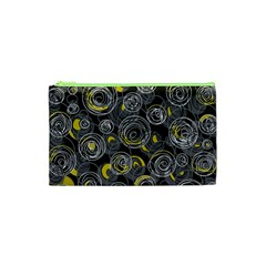 Gray and yellow abstract art Cosmetic Bag (XS)