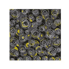Gray and yellow abstract art Small Satin Scarf (Square)