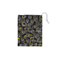 Gray and yellow abstract art Drawstring Pouches (XS)