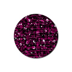 Magenta abstract art Rubber Round Coaster (4 pack)