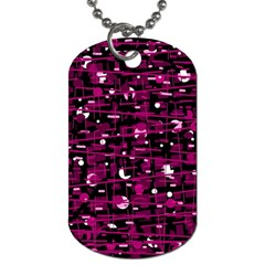 Magenta abstract art Dog Tag (One Side)