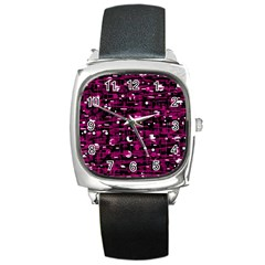 Magenta abstract art Square Metal Watch