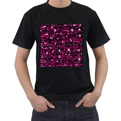 Magenta abstract art Men s T-Shirt (Black) (Two Sided)