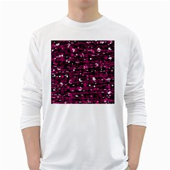 Magenta abstract art White Long Sleeve T-Shirts