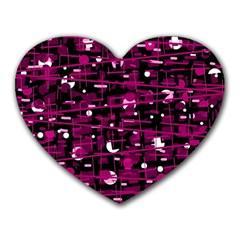 Magenta abstract art Heart Mousepads