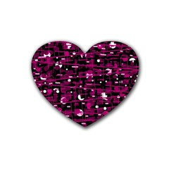 Magenta abstract art Rubber Coaster (Heart)
