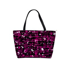 Magenta abstract art Shoulder Handbags