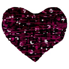 Magenta abstract art Large 19  Premium Heart Shape Cushions