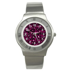 Magenta abstract art Stainless Steel Watch