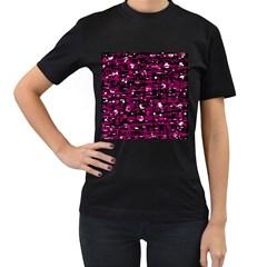 Magenta abstract art Women s T-Shirt (Black)