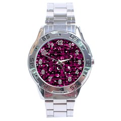 Magenta abstract art Stainless Steel Analogue Watch