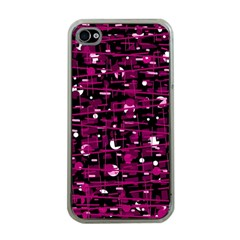 Magenta abstract art Apple iPhone 4 Case (Clear)