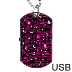 Magenta abstract art Dog Tag USB Flash (One Side)