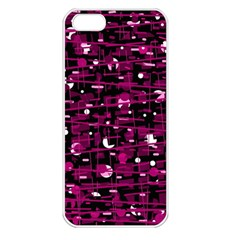 Magenta abstract art Apple iPhone 5 Seamless Case (White)