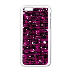 Magenta abstract art Apple iPhone 6/6S White Enamel Case