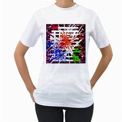 Colorful big bang Women s T-Shirt (White) (Two Sided)