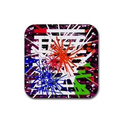 Colorful big bang Rubber Square Coaster (4 pack)