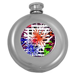 Colorful big bang Round Hip Flask (5 oz)