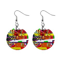Colorful abstraction by Moma Mini Button Earrings
