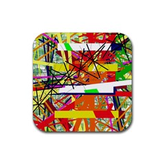 Colorful abstraction by Moma Rubber Coaster (Square)