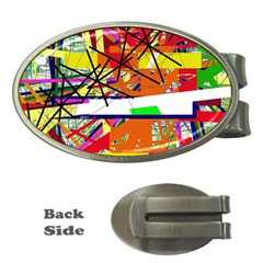 Colorful abstraction by Moma Money Clips (Oval)
