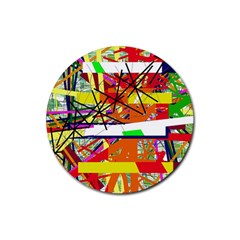 Colorful abstraction by Moma Rubber Round Coaster (4 pack)