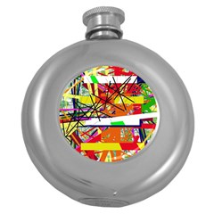 Colorful abstraction by Moma Round Hip Flask (5 oz)