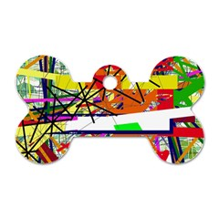 Colorful abstraction by Moma Dog Tag Bone (One Side)
