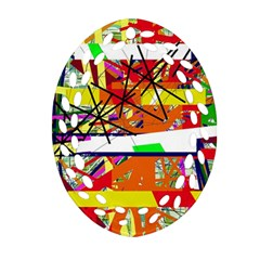 Colorful Abstraction By Moma Oval Filigree Ornament (2 Side)