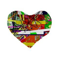 Colorful abstraction by Moma Standard 16  Premium Heart Shape Cushions