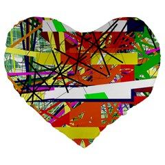 Colorful abstraction by Moma Large 19  Premium Heart Shape Cushions