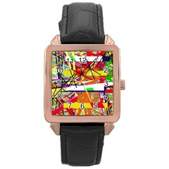 Colorful abstraction by Moma Rose Gold Leather Watch