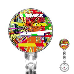 Colorful abstraction by Moma Stainless Steel Nurses Watch