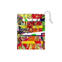 Colorful abstraction by Moma Drawstring Pouches (Small)
