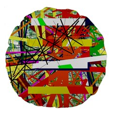 Colorful abstraction by Moma Large 18  Premium Flano Round Cushions