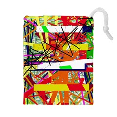 Colorful abstraction by Moma Drawstring Pouches (Extra Large)