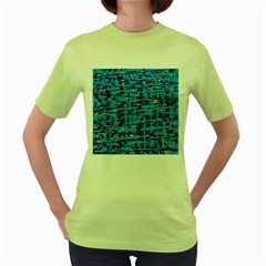 Blue decorative art Women s Green T-Shirt