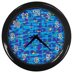 Blue decorative art Wall Clocks (Black)