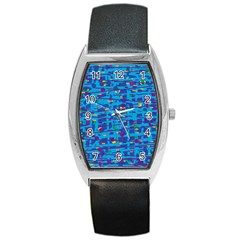Blue decorative art Barrel Style Metal Watch
