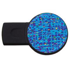 Blue decorative art USB Flash Drive Round (4 GB)